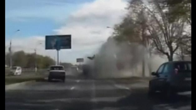 Dashboard camera captures moment of bus explosion in Russia