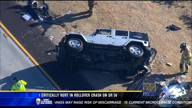 One person critically hurt in rollover crash on SR-56