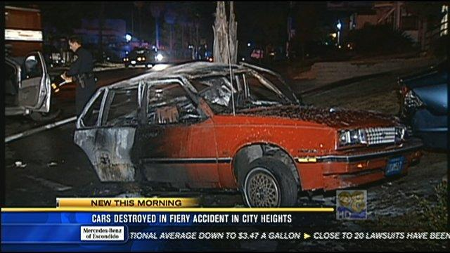Cars destroyed in fiery accident in City Heights