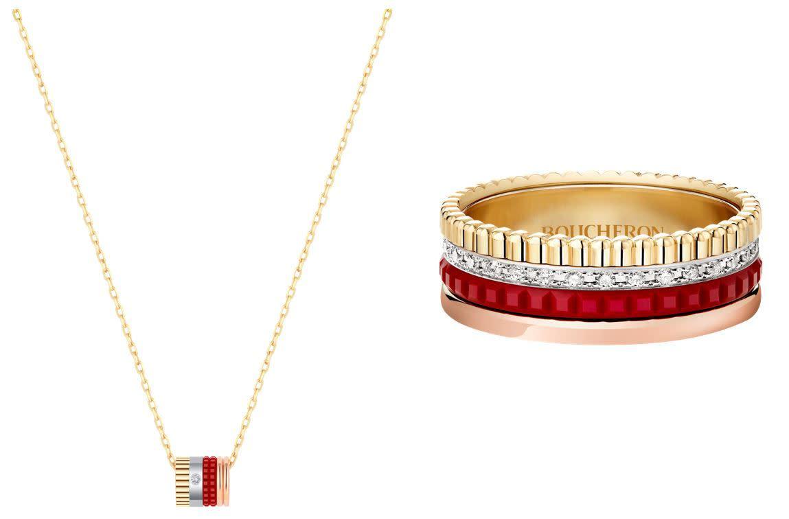 QUATRE RED系列單鑽墜項鍊,NT$97,000;QUATRE RED系列鑲鑽戒指,NT$205,000