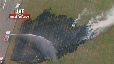 Plane Clips Pole, Starts Brush Fire At Zelienople Airport