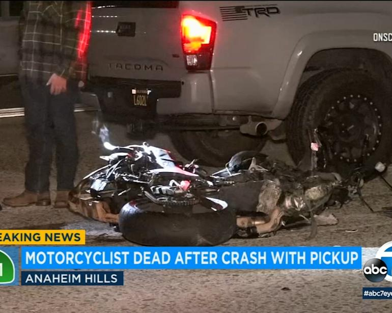 Motorcyclist collides with truck, struck by another vehicle in fatal crash  on 91 Freeway in Anaheim Hills