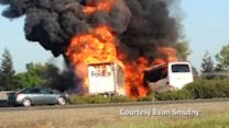 Amateur video captures fiery bus crash