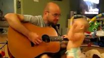 Baby Dances to His Dad's Guitar Playing