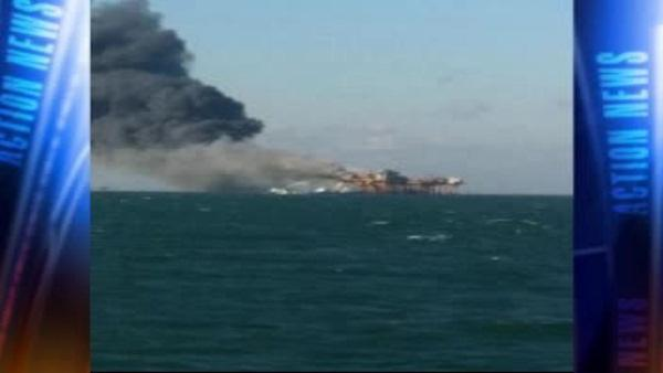Gulf rig fire leaves 4 hurt, 2 missing; no leak