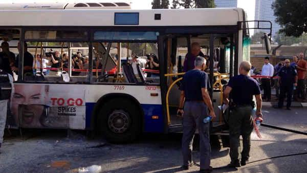 Bomb rips through bus in central Tel Aviv