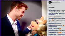 Liam Hemsworth's inaugural Instagram post features a flirtatious picture with Miss Piggy
