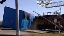 Caught on camera: Train smashes into truck