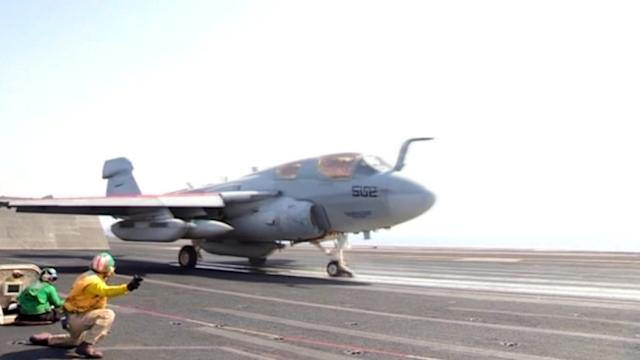 U.S. Navy releases video it says shows aircraft taking off for Iraq