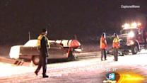 Car smashes into snow plow truck, injuring 2; other accidents reported on slippery roadways