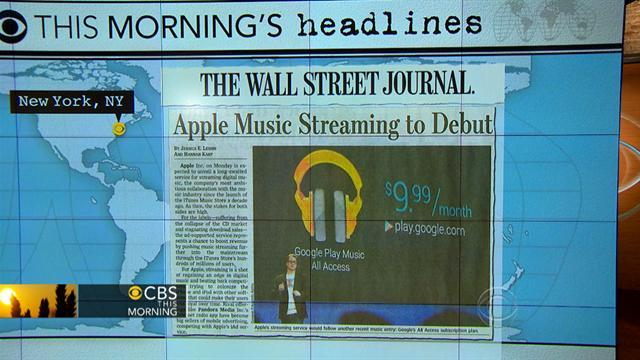 Headlines at 8:30: Apple music streaming to debut