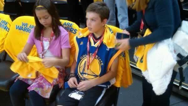 Aaron Hern honored by Warriors at playoff game