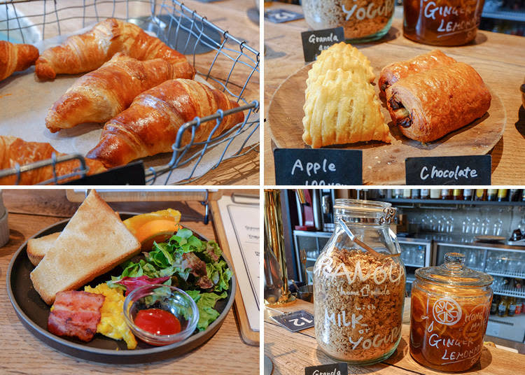左上|Croissant  200日圓右上|Apple  100日圓 / Chocolate  200日圓 左下|With Bacon eggs and Salad - Toast plate(週末限定) / Croissant plate  500日圓 右上|Granola  450日圓