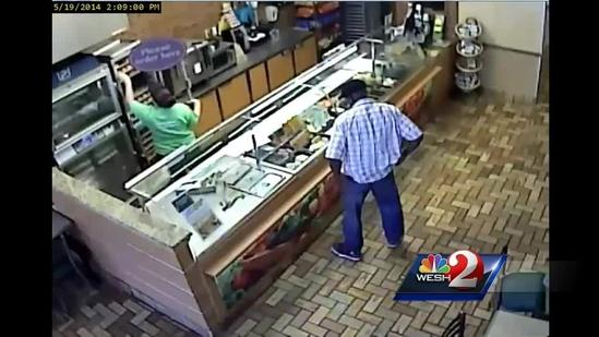 Surveillance video: Man steal sub, tip money from Subway