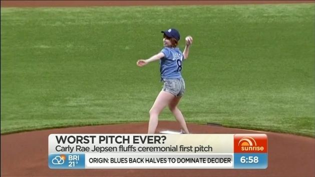 Carly Rae throws worst pitch ever