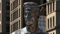 Nearly naked David Beckham statues unveiled