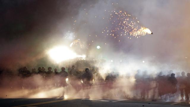 Raw: Missouri Police Fire Tear Gas at Protesters
