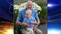 Former President George H.W. Bush shaves his head