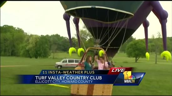 Ava hops in hot air balloon for annual Preakness event