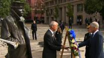 Raw: Hagel Lays Wreath at U.S. Navy Memorial