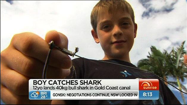 Boy catches 40kg shark