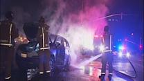 Leaking gas starts car fire