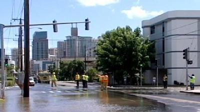 Huge Water Main Break Closes McCully Street