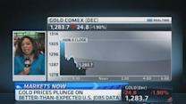 Gold prices plunge on jobs number
