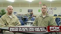 Inmates on work crew jump into rushing water to save boys