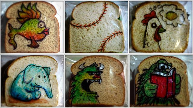 Dad Illustrates Kids' Sandwich Bags with Imaginative Drawings