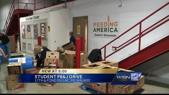 Students donate peanut butter and jelly to Feeding America