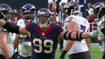 Houston Texans defensive end J.J. Watt sacks Baltimore Ravens quarterback Joe Flacco on 4th down