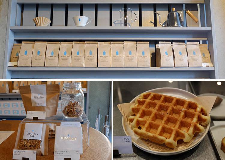 上: 各品種咖啡豆 1500日圓起/左: GRANOLA 900日圓 / GRANOLA BAR  350日圓 / BLUE BOTTLE COFFEE CHOCOLATE 800日圓/右: (鬆餅) LIEGE WAFFLE  500日圓