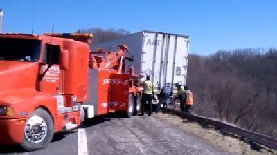 Wind Topples Tractor-Trailers