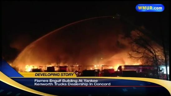 Flames engulf Concord truck storage facility