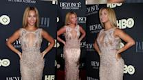 Beyonce Wows in Bust-Baring Sheer Gown at Life Is But A Dream Premiere