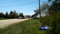 Tractor catches fire in Racine County