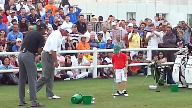 Tiger Woods and Mark O'Meara upstaged at 2014 Dubai Desert Classic by six-year old Sean Cooper