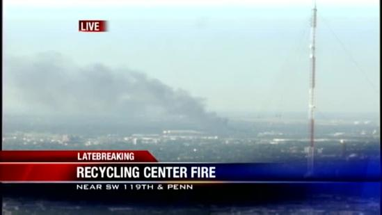 Fire burning at OKC recycling center