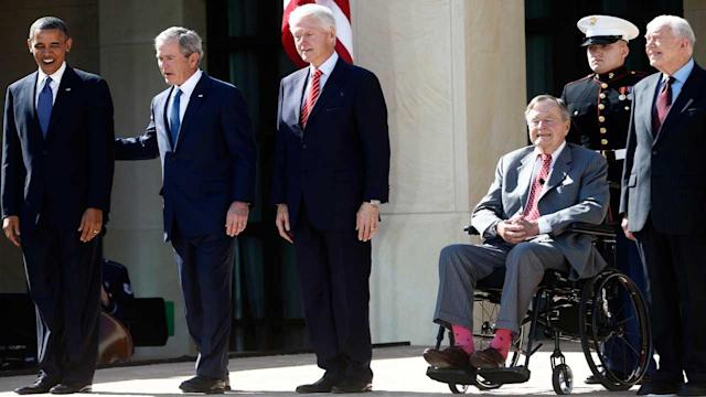 Presidents converge to salute one of their own
