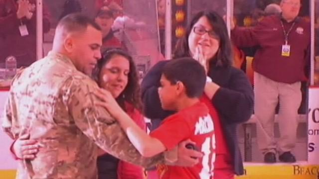 Soldier Surprises Family at Hockey Game