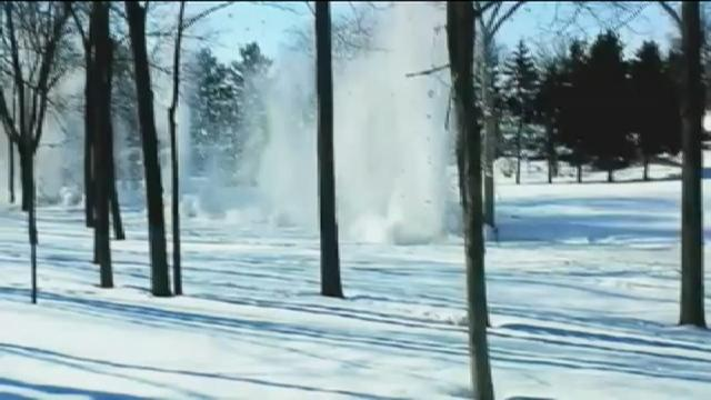 Watch: Dynamite clears ice dam in Wis. creek