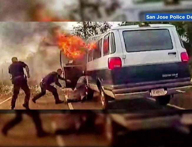 Caught on camera: San Jose police officers rescue man from burning van  before it explodes