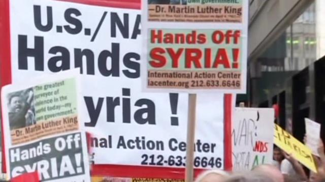 Dozens in NYC, Washington protest possible U.S. action in Syria