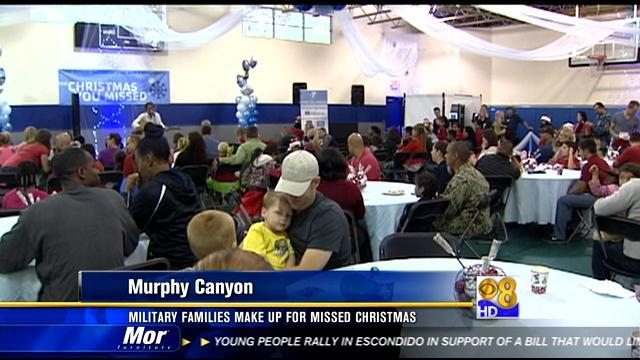 Military families make up for missed Christmas
