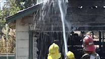 House garage bursts in flames