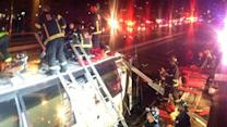 Bus Hits Overpass in Boston, Injuring Dozens