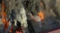 RAW: Five Alarm Fire Destoys Large Garage in NY