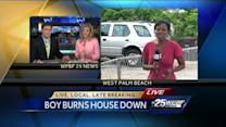 Boy playing with sparklers accidentally sets home on fire