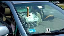 Ax Flies Off Truck Into Car's Windshield On I-95 In Topsfield